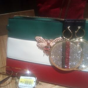 Handbag with Matching Earrings and Eyeglasses